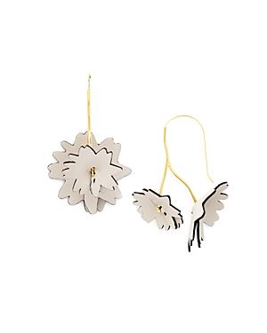 Marni Leather Flower Threader Earrings