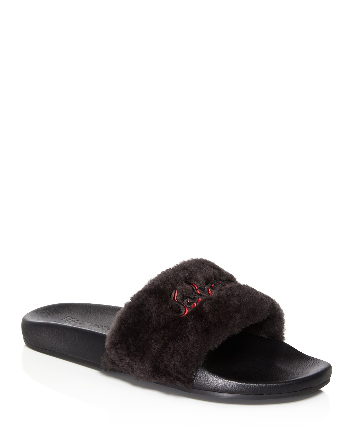Salvatore Ferragamo Men's Don Shearling Slide Sandals YpIZ1vABJ