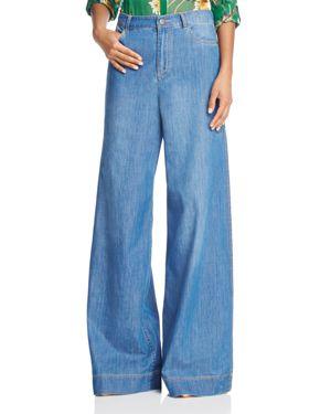 Alice + Olivia Clarissa Wide-Leg Side-Slit Jeans in Vintage Wash