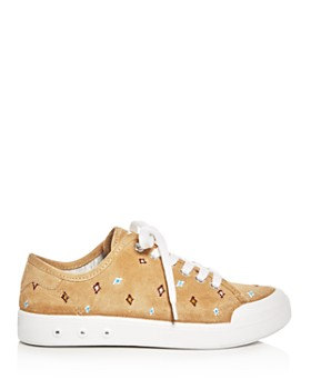 rag & bone - Women's Standard Issue Suede Embroidered Lace Up Sneakers