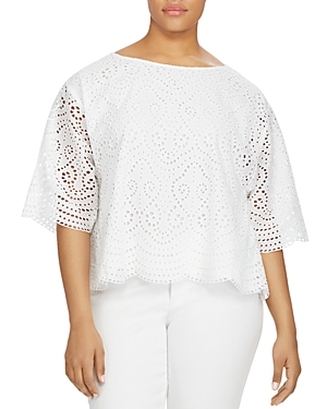 Lauren Ralph Lauren Plus Eyelet Flare Sleeve Top