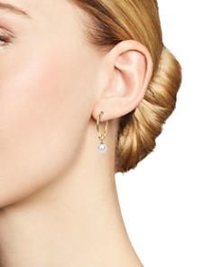 MATEO - 14K Yellow Gold Pearl Charm Hoop Earrings