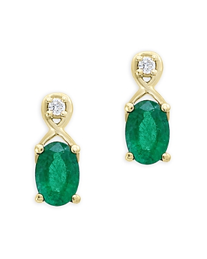 Emerald and Diamond Drop Earrings in 14K Yellow Gold - 100% Exclusive