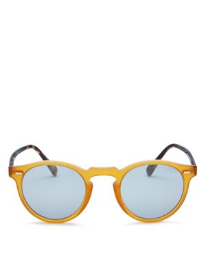 Oliver Peoples Gregory Peck Mirrored Round Sunglasses, 47mm