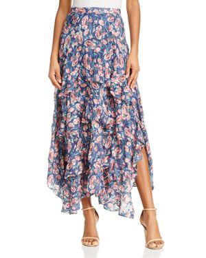 Rebecca Taylor Tea Rose Silk Ruffle Maxi Skirt