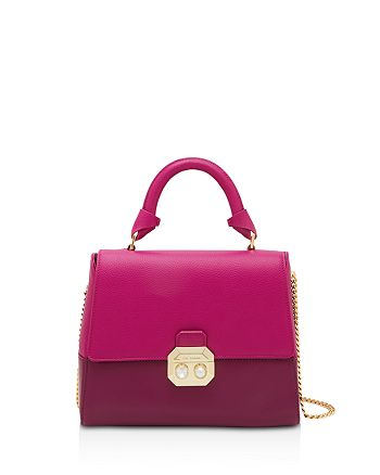 Ted Baker - Lady Crystal and Faux-Pearl Lock Leather Satchel