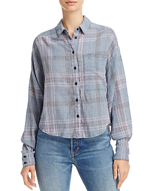 Free People Crop Plaid Shirt
