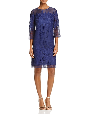 Adrianna Papell Three-Quarter Sleeve Lace Cocktail Dress