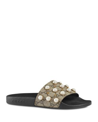 ec08cb2dfe2 Gucci Women s Pursuit Pearl Stud Pool Slide Sandals