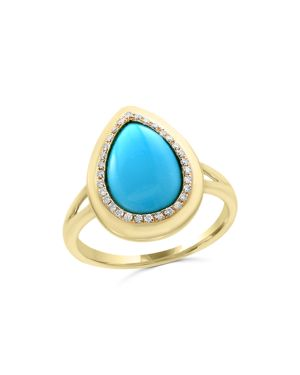 Turquoise and Diamond Ring in 14K Yellow Gold - 100% Exclusive