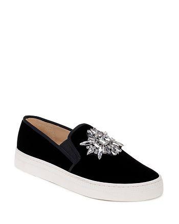 Badgley Mischka - Women's Barre Embellished Velvet Slip-On Sneakers