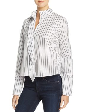 Frame Band Collar Striped Shirt - 100% Exclusive
