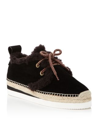 Chloé Glyn Suede and Shearling Lace Up Sneakers
