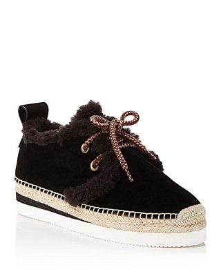 Chloé Glyn Suede and Shearling Lace Up Sneakers FFPB1A