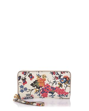 Tory Burch Parker Zip Floral Leather Continental Wallet