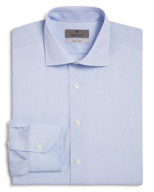 Canali Impeccabile Mini Grid with Circle Dot Regular Fit Dress Shirt