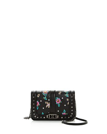 Rebecca Minkoff - Love Biker Stud Floral Small Leather Crossbody - 100% Exclusive