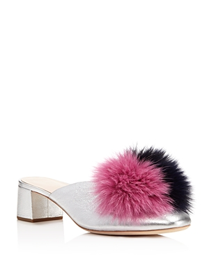 Loeffler Randall Lulu Fox Fur Pom-Pom Block Heel Mules