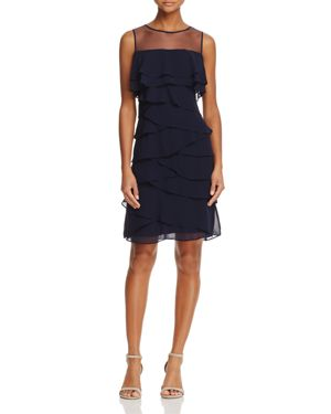 Adrianna Papell Sheer-Yoke Ruffled Dress