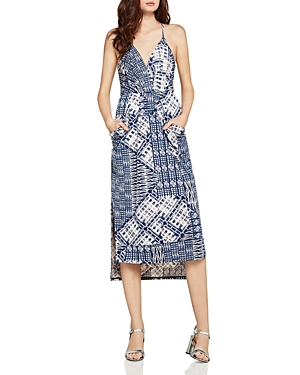 BCBGeneration Patchwork-Print Faux-Wrap Midi Dress
