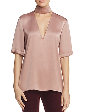 Theory Crushed Satin Mock Neck Top