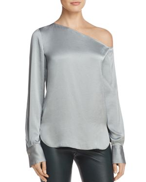 Theory Ulrika Crushed Satin One-Shoulder Blouse