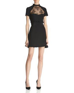The Kooples Lace-Inset Silk Mini Dress