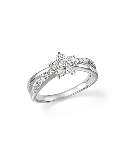 Bloomingdale's - Diamond Flower Crossover Ring in 14K White Gold, .60 ct. t.w. - 100% Exclusive