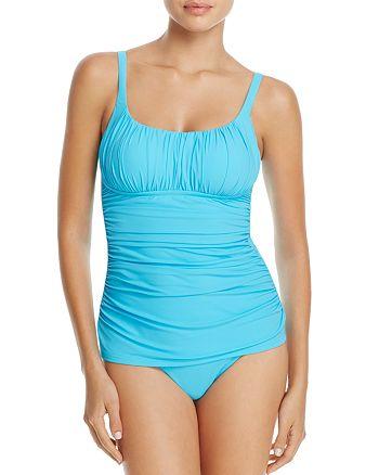 a0df81b96fb1f Profile by Gottex - Ruched Tankini Top & Clean Finish High-Waist Bikini  Bottom