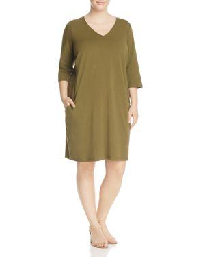 Eileen Fisher Plus Organic Cotton V-Neck Dress