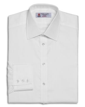 Turnbull & Asser Solid Herringbone Regular Fit Dress Shirt