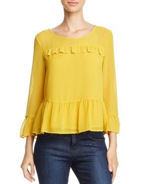 cupcakes and cashmere Katlyn Ruffled Bell Sleeve Top