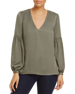 L'academie L'ACADEMIE THE MAYA RUCHED-SLEEVE BLOUSE