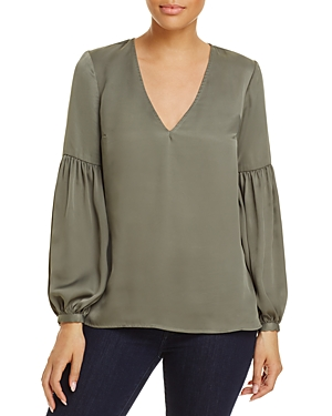 L'Academie The Maya Ruched-Sleeve Blouse