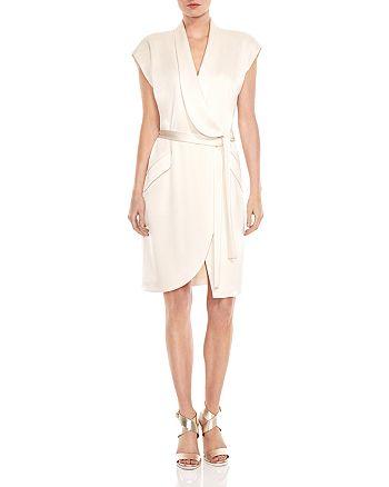 2e334310ed5e HALSTON HERITAGE Satin Wrap Shirt Dress | Bloomingdale's