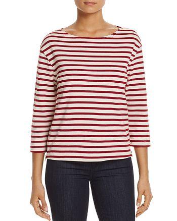Three Dots - Stripe Boat-Neck Top
