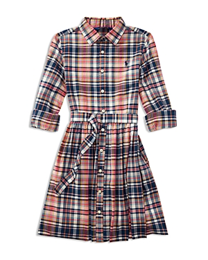 Ralph Lauren Childrenswear Girls Madras Plaid Shirtdress  Big Kid