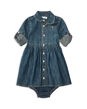 Ralph Lauren Childrenswear Girls Denim Shirtdress  Bloomers Set  Baby