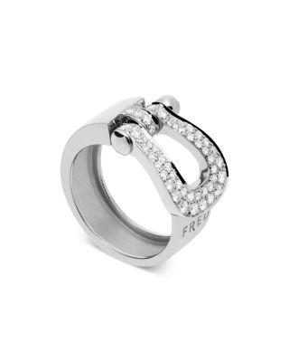 FRED 18K WHITE GOLD FORCE 10 DIAMOND LARGE RIBBON RING