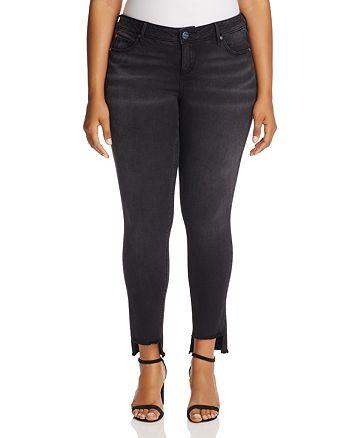 SLINK Jeans Plus - Mimi Cropped Step-Hem Jeans in Black