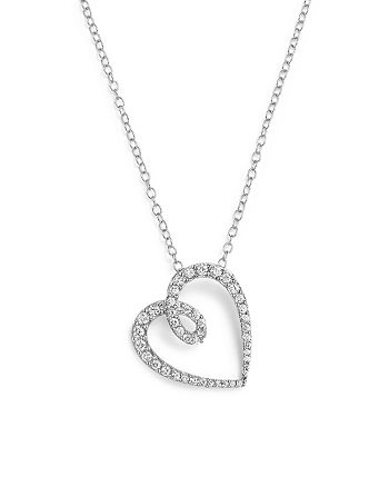 Bloomingdale's - Diamond Heart Pendant Necklace in 14K White Gold, .35 ct. t.w. - 100% Exclusive