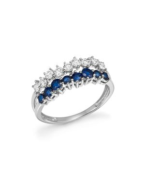 Diamond and Blue Sapphire Band Ring in 14K White Gold - 100% Exclusive
