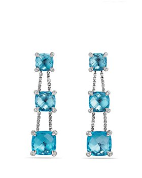 David Yurman - Châtelaine Linear Chain Earrings with Blue Topaz and Diamonds