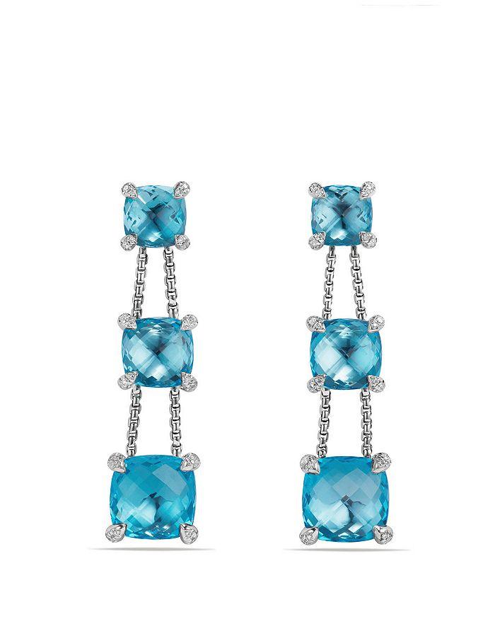 David Yurman - Châtelaine Linear Chain Earrings with Blue Topaz and Diamonds