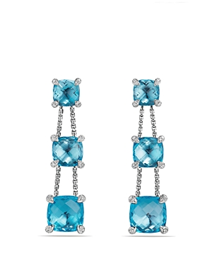 David Yurman Chatelaine Linear Chain Earrings with Blue Topaz and Diamonds
