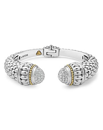 LAGOS - 18K Gold and Sterling Silver Caviar and Diamonds Cuff, 14mm