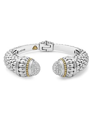 Lagos 18K Gold and Sterling Silver Caviar and Diamonds Cuff Bracelet, 14mm