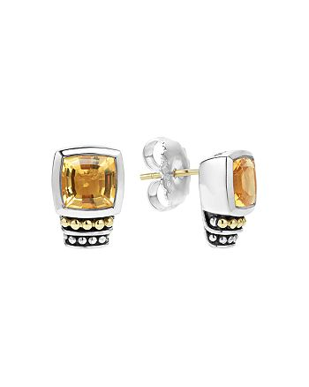 LAGOS - 18K Gold and Sterling Silver Caviar Color Citrine Stud Earrings