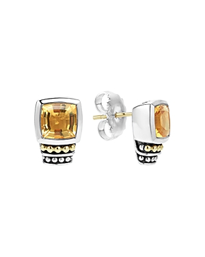 Lagos 18K Gold and Sterling Silver Caviar Color Citrine Stud Earrings-Jewelry & Accessories