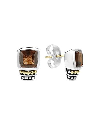 LAGOS - 18K Gold and Sterling Silver Caviar Color Smoky Quartz Stud Earrings